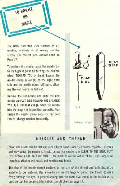 Morse Super Dial Sewing Machine Instruction Manual