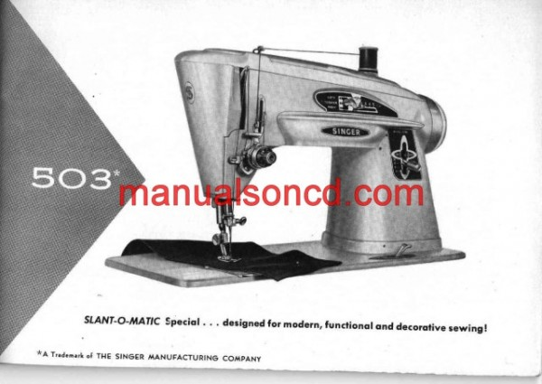 Singer 503 Sewing Machine Instruction/Owners Manual
