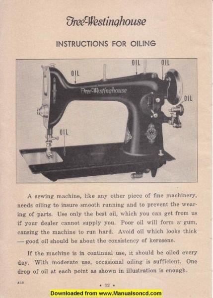 Free Westinghouse Rotary Sewing Machine Manual Model ALB