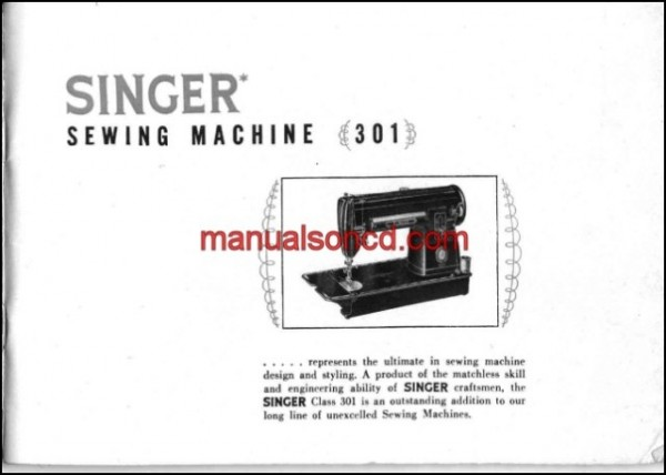 Singer 301 Sewing Machine Instruction/Owners Manual Pdf