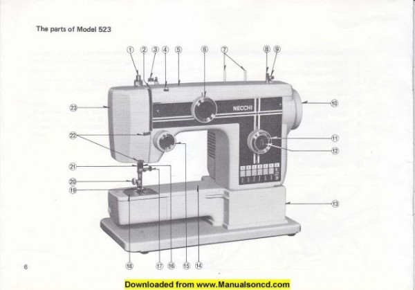 Necchi 522 - 523 Sewing Machine Instruction Manual