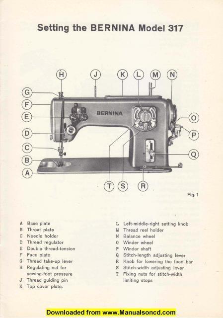 Bernina 317 Sewing Machine Setting Manual