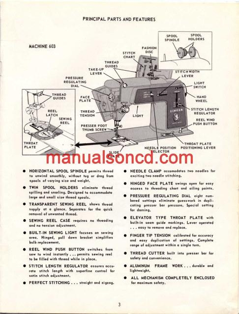 Singer 603 Sewing Machine Instruction Manual