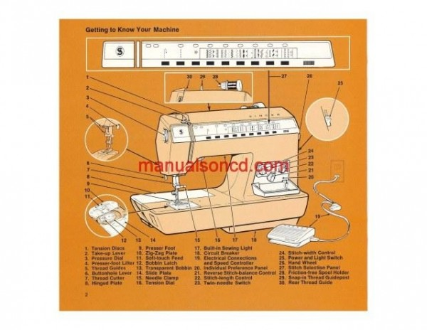 Singer 2000 Touch-Tronic Sewing Machine Instruction/Owners Manual Pdf