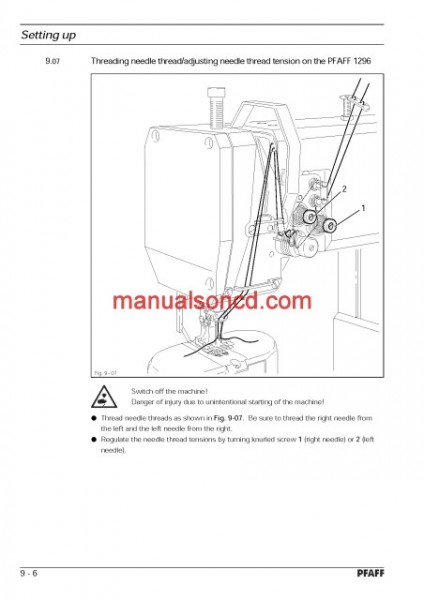 Pfaff 1295 And Pfaff 1296 Sewing Machine Instruction/Owners Manual