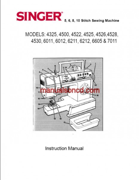 Singer 4325, 4500, 4530, 6011, 6211, 6605, 7011 Sewing Machine Manual