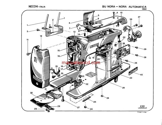 necchi model 1960 bu nora and nora automatica parts catalogue