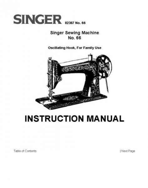 Singer Model 66 Sewing Machine Instruction/Owners Manual