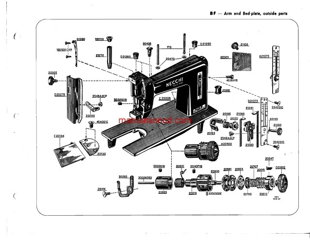 Necchi BF - BU Nova sewing machine parts catalogue Manual