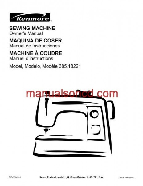 Kenmore 385.18221 Sewing Machine Instruction Manual