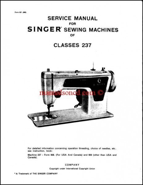 Singer 237 Service And Repair Manual Download