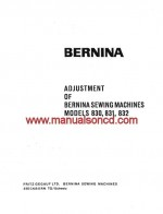 Bernina 830, 831 and 832 Adjusters Service Manual pdf