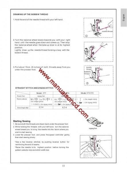 Euro-pro 372, 373, 374, 377 Sewing Machine Instruction Manual